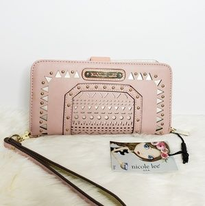 Nicole Lee Wallet Wristlet Perforated Pink Studded